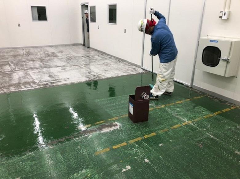 神奈川県川崎市の工場コンクリート床|塗床(床塗装)工事:ケミクリートEペースト工法