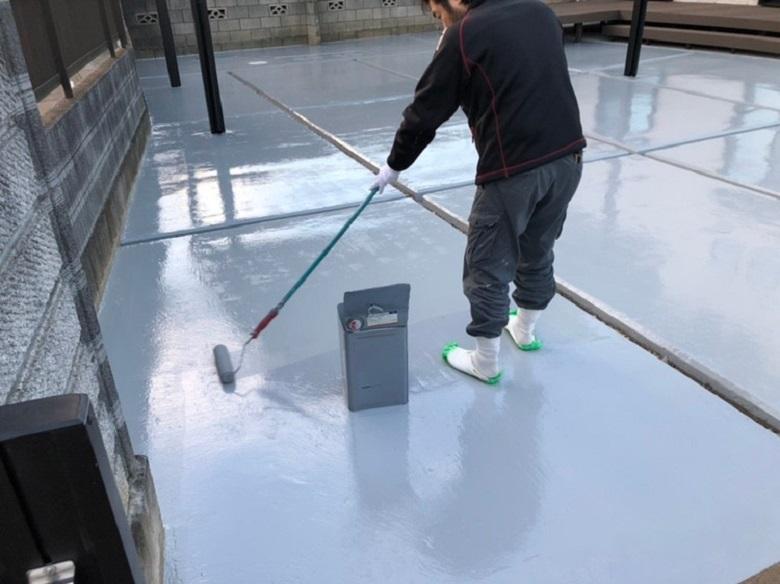 茨城県坂東市の個人邸ガレージ床塗装(塗床)工事