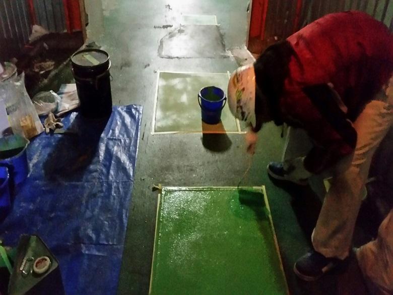 千葉県千葉市の水産冷凍倉庫|床塗装(塗床)補修工事:ケミクリートMS