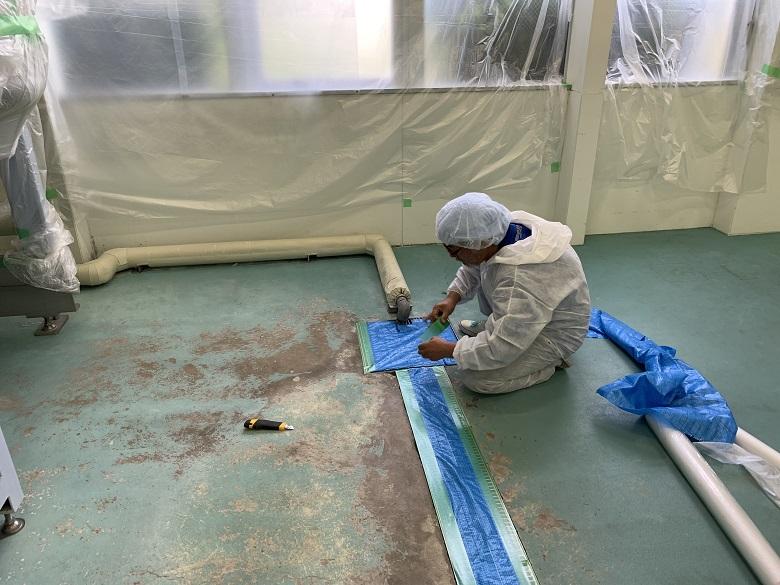 埼玉県東松山市の化粧品会社工場|塗床(床塗装)改修工事:ケミクリートE