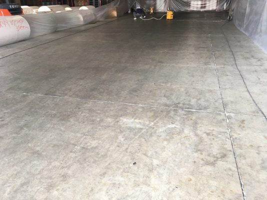 神奈川県厚木市の紙倉庫コンクリート床 段差修正:塗床(ケミクリートMS)