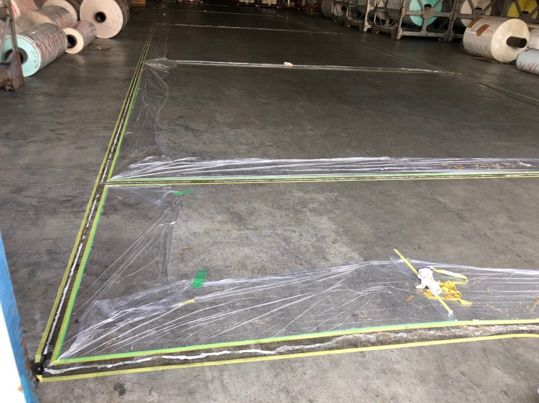 厚木市の紙倉庫コンクリート床クラック・段差修正。塗床