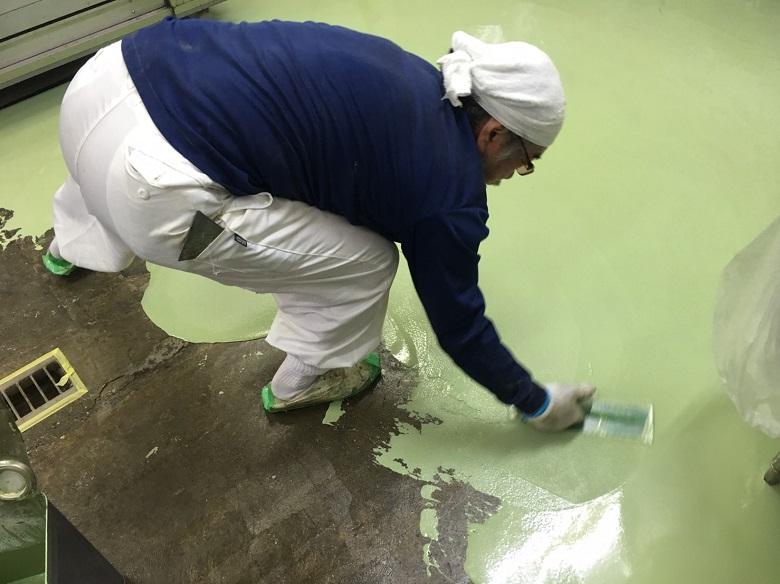 神奈川県川崎市のデザート(洋菓子)工場|床塗装(塗床)工事:ケミクリートMS