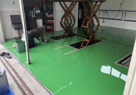 山梨県北杜市のガソリンスタンド整備工場|床塗装(塗床):ケミクリートE