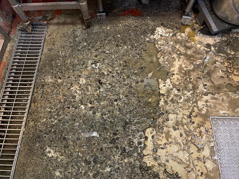 牛丼屋さんの塗床施工前調査