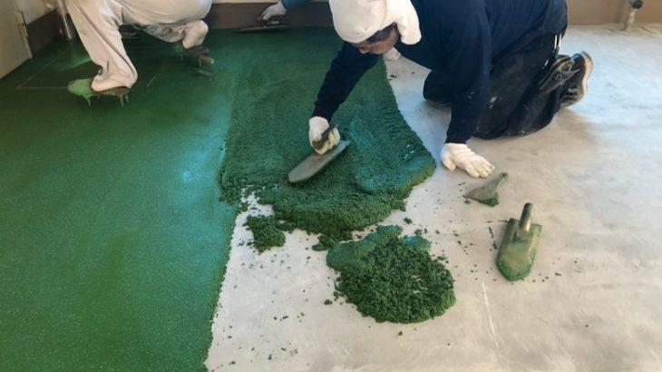 東京都町田市の学校給食室コンクリート床|耐熱塗床工事:タフクリートMH(水性硬質ウレタン)を施工しました。
