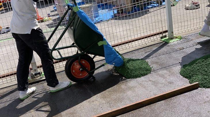 東京都江東区のスーパーマーケットカート置場|ゴムチップ塗床施工:パークコートゴムチップカラー