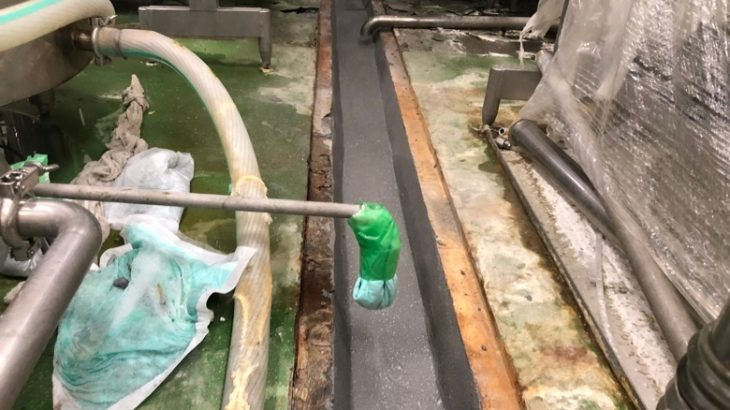 栃木県の食品工場の腐食した側溝の補修