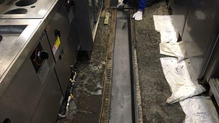千葉県松戸市のラーメン店|腐食した側溝コンクリートを塗床で補修:タフクリートMH
