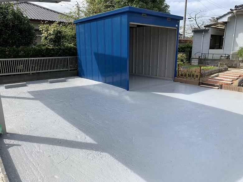 千葉県大網白里市の駐車場|汚れたコンクリートを床塗装(塗床)工事で均一な色に改修:ケミクリートEPカラー