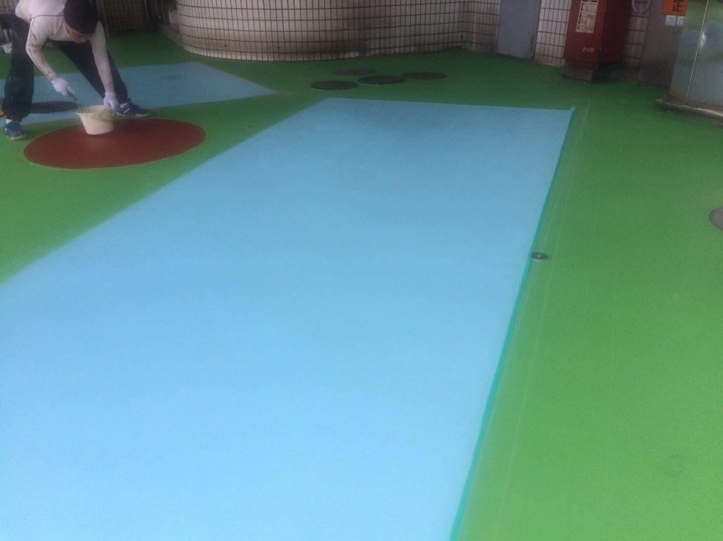 ガソリンスタンドの塗床