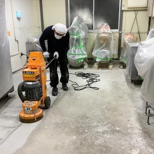 床塗装前の研摩作業